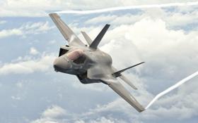 Картинка небо, полет, истребитель, кабина, бомбардировщик, F-35B, Lockheed Martin