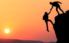 Обои union, companionship, aid climbing