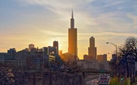 Картинка солнце, закат, город, небоскребы, вечер, Чикаго, Иллиноис