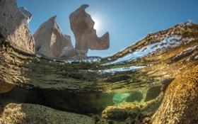Обои вода, природа, скала, океан, подводный мир