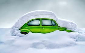 Обои зима, снег, автомобиль, сугроб