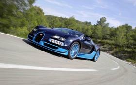Обои Roadster, поворот, Bugatti, Veyron, суперкар, гиперкар, Grand Sport