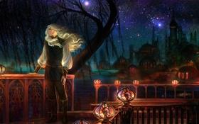 Обои ночь, звёзды, фонари, перила, мужчина, веранда, купола