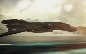Обои полет, планета, скорость, космический корабль