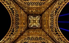 Обои свет, ночь, конструкция, эйфелева башня, Франция, Париж, опора