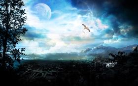 Обои небо, горы, птицы, город, дерево, молнии, планета