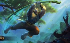 Обои атака, бой, баран, палка, heroes of newerth, Green Wood Ram