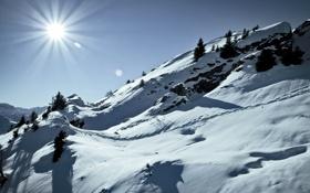 Обои winter, alps, швейцария, альпы, зима, снег, склон