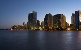 Обои вода, Майами, вечер, Флорида, Miami, высотки, florida