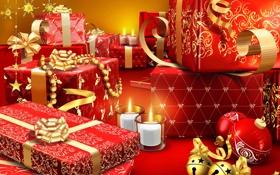 Обои свечи, подарки, Новый год