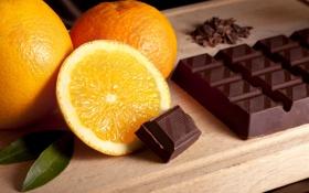Обои плитка, апельсин, шоколад, листочки, дольки, orange, chocolate
