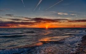 Картинка море, волны, пейзаж, рассвет