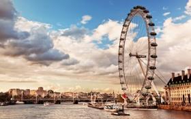 Картинка Thames River, skyline, колесо обозрения, the London Eye, река Темза, city, Лондон