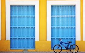 Обои велосипед, дом, улица