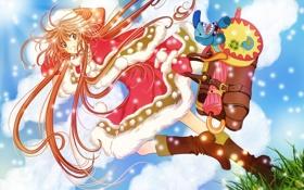 Обои девушка, солнце, облака, снег, игрушка, собака, зонт