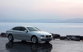 Обои Небо, Вода, Озеро, BMW, Серый, Автомобиль, 5 series