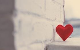 Обои стена, красное, угол, кирпичи, сердечко