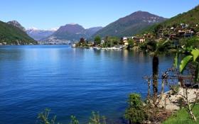 Обои горы, озеро, берег, дома, Швейцария, Luganer See, Brusino Arsizio