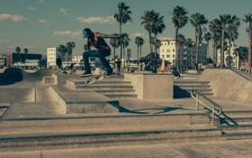 Картинка город, пальмы, прыжок, лестница, скейтер, доска, скейтборд