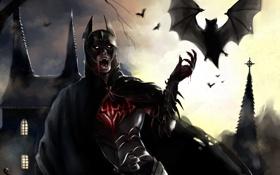 Обои замок, batman, кровь, бэтмен, арт, костюм, вампир