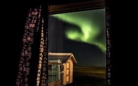 Картинка звезды, ночь, северное сияние, окно, Aurora Borealis