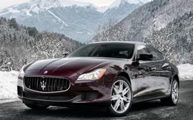 Картинка авто, деревья, горы, Maserati, Quattroporte