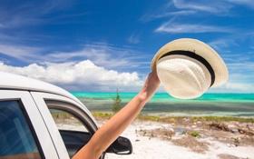 Картинка море, пляж, лето, отдых, шляпа, summer, beach
