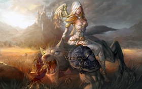 Картинка ангел, оборотень, Арт, замок, холмы, девушка