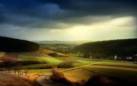 Обои небо, поля, куски, земли, хмурое, ковра