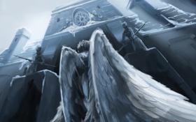 Картинка зима, снег, оружие, фантастика, здание, крылья, ангел