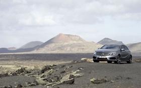 Обои небо, горы, серый, долина, Mercedes, прототип, мерседес