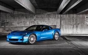 Обои голубой, Z06, Corvette, Chevrolet, шевроле, blue, корвет
