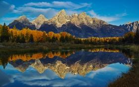 Обои осень, лес, небо, облака, горы, озеро