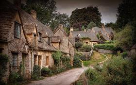 Картинка дорога, деревья, улица, англия, дома, деревня, кусты