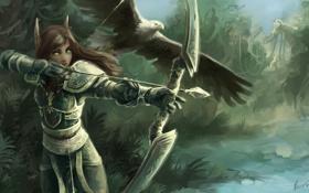 Картинка лес, девушка, птица, лук, лучница, арт, эльфийка