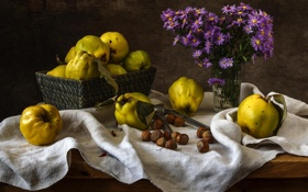 Обои цветы, орех, натюрморт, айва