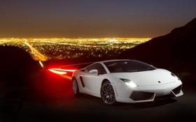 Обои город, белая, дорога, Gallardo, ночь, Lamborghini