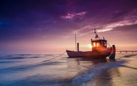Обои солнце, свет, лодка, баржа, Балтийское море