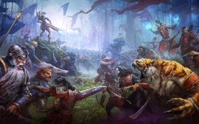 Картинка лес, тигр, пушки, Битва, флаги, сражение, гном