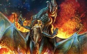 Картинка девушка, фантастика, огонь, дракон, голая, арт, пасть