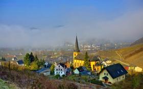 Картинка небо, облака, город, туман, фото, дома, Германия
