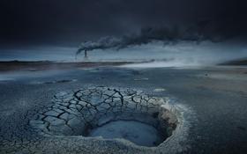 Картинка природа, дым, вышка, сумерки, высохшее озеро