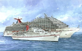 Обои море, рисунок, чайки, плавание, лайнеры