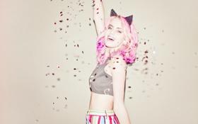 Обои девушка, волосы, розовые, ушки
