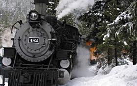 Картинка зима, лес, снег, деревья, горы, движение, паровоз