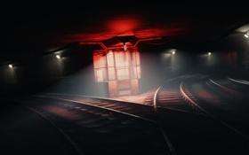 Обои Красная, Лампа, Dark, Desktop, Метро, Light, Red