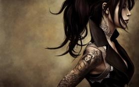 Картинка рисунок, брюнетка, тату, татуировки, art