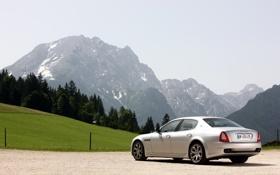 Обои машина, горы, природа, фото, Quattroporte, вид, гора