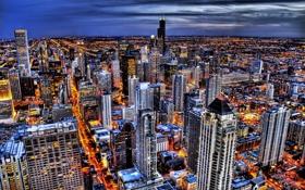 Обои город, небоскребы, вечер