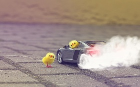 Картинка дорога, машина, дым, цыплята, фигурки